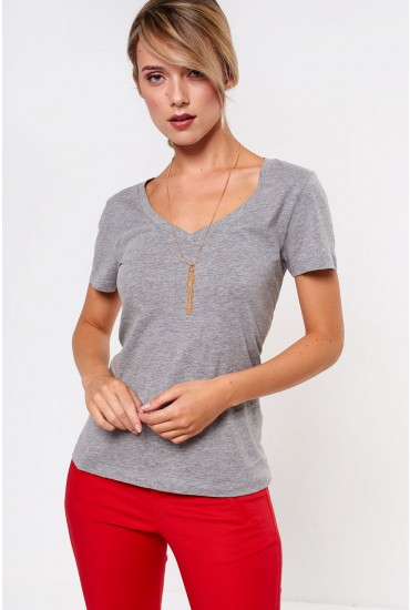 Spicy V-Neck SS Top in Grey