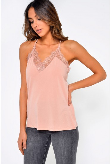 Milla S/L Lace Top in Rose