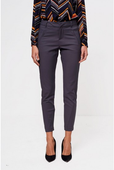 Victoria Long Length Ankle Pants in Dark Grey