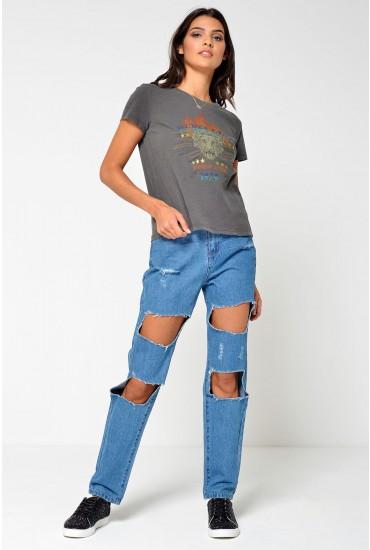 Donna Regular Mom Destroy Jeans