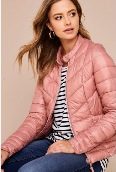 Fenna Short Puffer Jacket in Dusty Rose