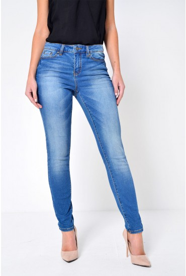 Seven Regular Slim Jeans in Medium Blue Denim