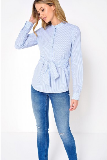 Jane L/S Waist Tie Shirt in Light Blue