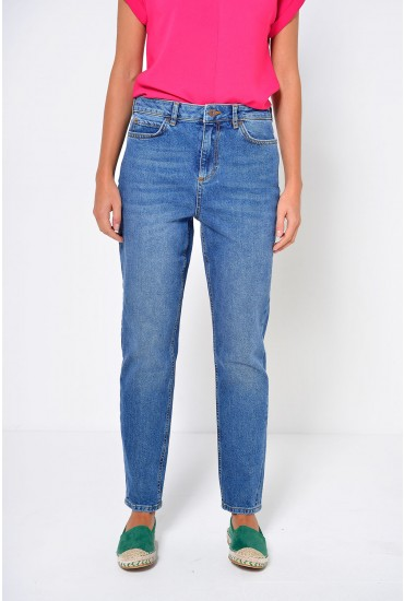 Anna Short Straight Ankle Jeans In Medium Blue