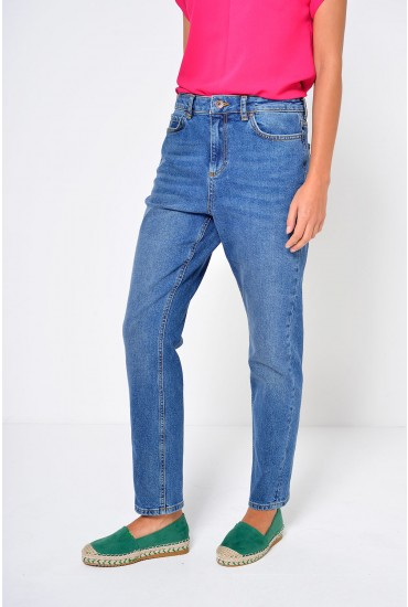 Anna Regular Straight Ankle Jeans In Medium Blue