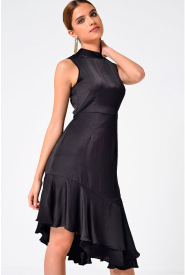 Kylie Frill Knee Dress in Black
