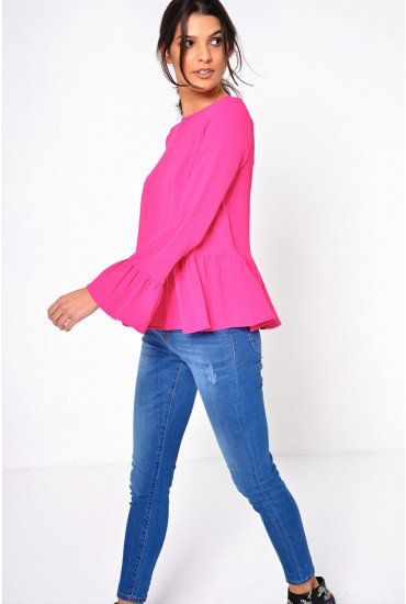 Bali Flounce L/S Top in Pink