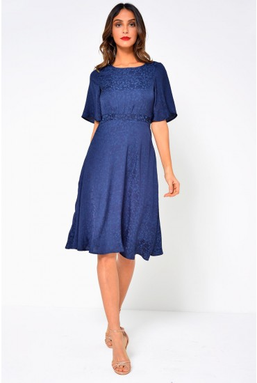 Lou Calf Dress in Navy