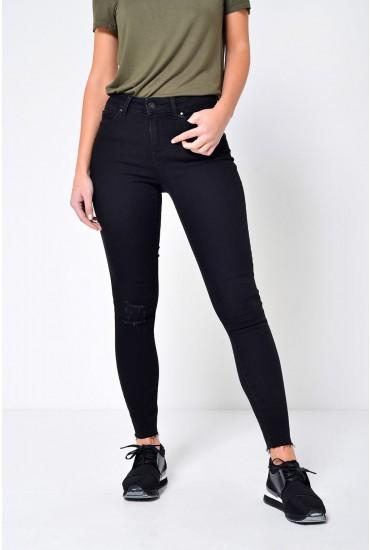 Seven Short Frayed Ankle Jeans in Black
