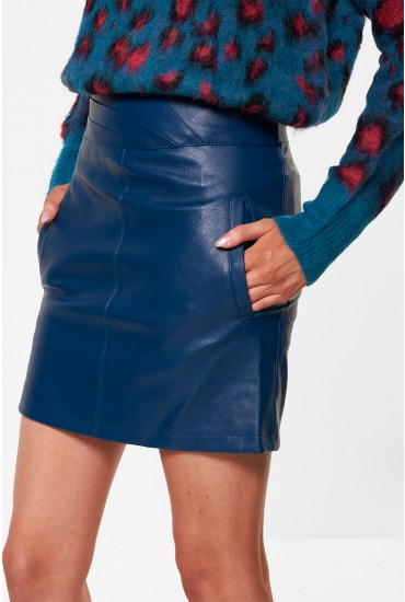 Connery Faux Leather Skirt in Teal