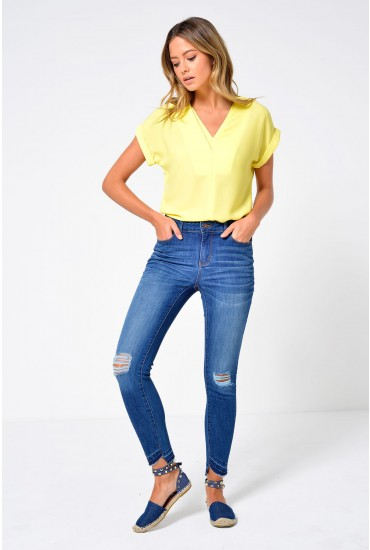 Seven Short Fold Down Ankle Jeans in Medium Blue