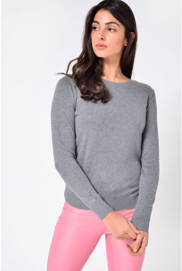 Milda Basic Round Neck Knit in Grey