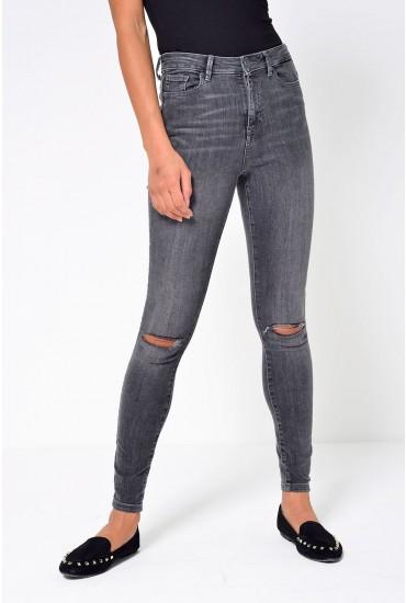 Sophia Regular High Waist Ripped Skinny Jean in Grey