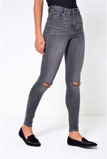 Sophia Short High Waist Ripped Skinny Jean in Grey