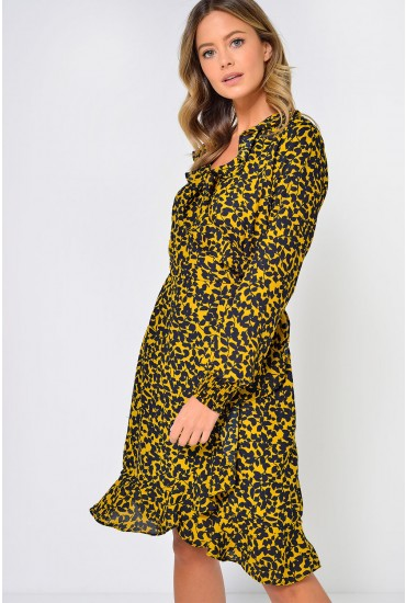 Henna Printed Wrap Dress in Mustard
