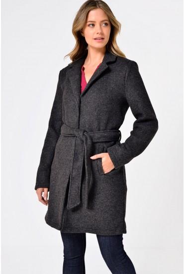 Nina Belted Coat in Dark Grey