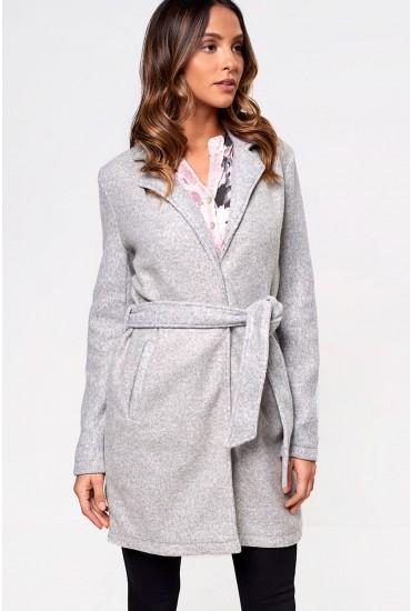 Nina Belted Coat in Light Grey