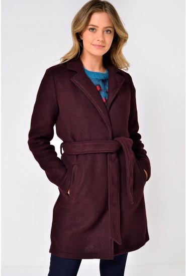 Nina Belted Coat in Wine