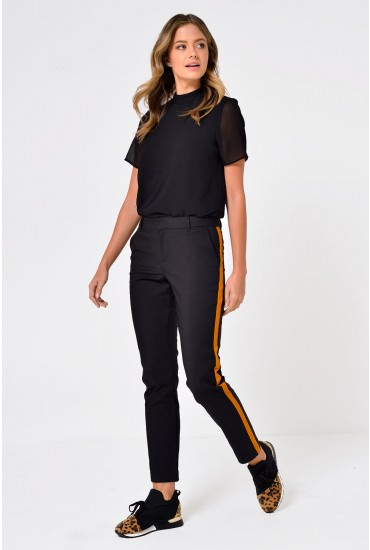 Maston Regular Slim Trousers with Side Stripe in Black