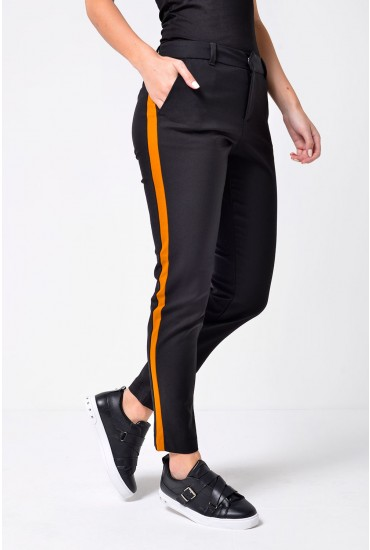 Maston Short Slim Trousers with Side Stripe in Black