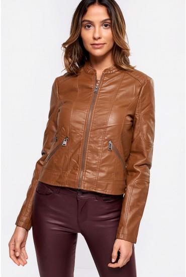 Europe Faux Leather Jacket in Tan