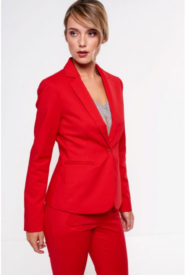 Victoria Long Sleeve Blazer in Red