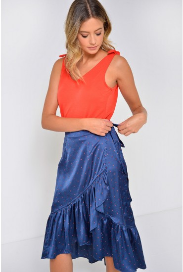 Henna Satin Frill Dot Skirt in Navy
