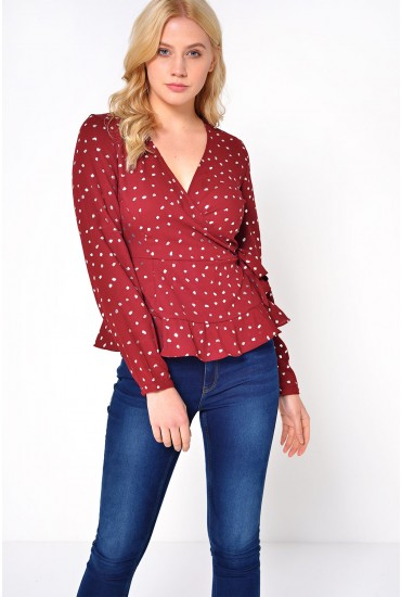 Henna L/S Wrap Top in Burgundy