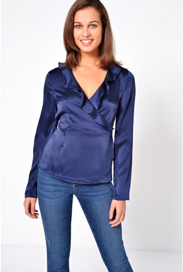 Henna Shine Wrap Top in Navy