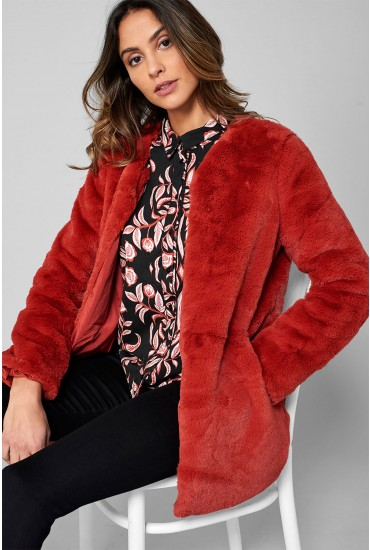 Valli Faux Fur Jacket in Burnt Orange