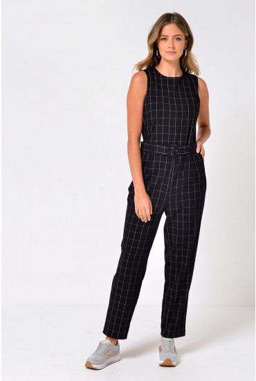Silje Cross Stripes Jumpsuit in Black