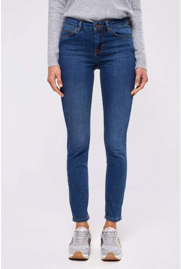 Naya Regular Mid Rise Straight Leg Jeans in Mid Wash Blue