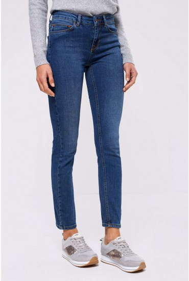Naya Short Mid Rise Straight Leg Jeans in Mid Wash Blue