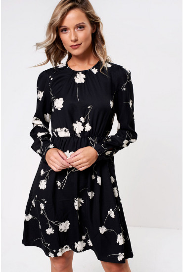 Zitta Printed Dress in Black
