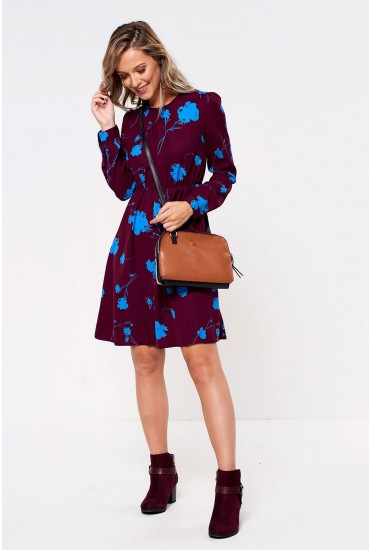 Zitta Printed Dress in Wine