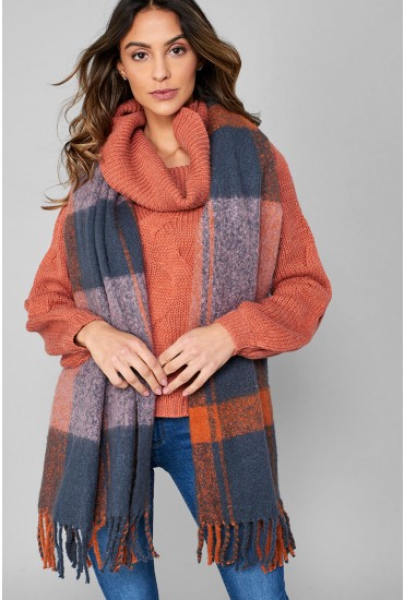 Marley Long Check Scarf in Blue-one-size