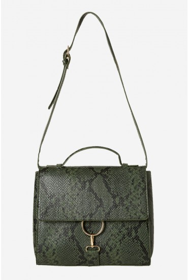 Minna Snake Print Bag in Green