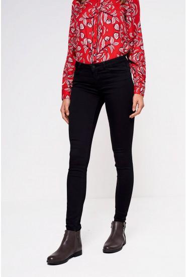 Julia Short Mid Rise Slim Jeans in Black