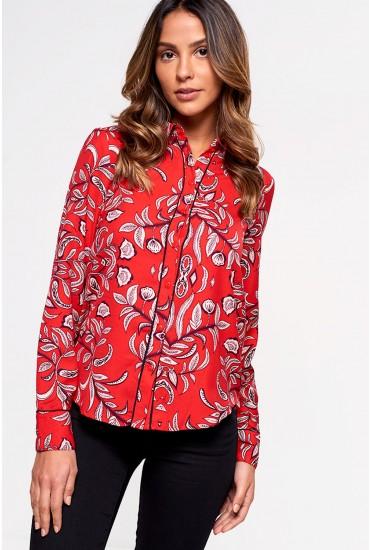 Gyana Long Sleeve Printed Shirt in Red