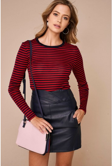 Vita Stripe O-Neck Top Red