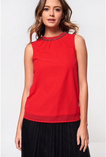 Kallie Sleeveless Top with Beaded Neckline in Red