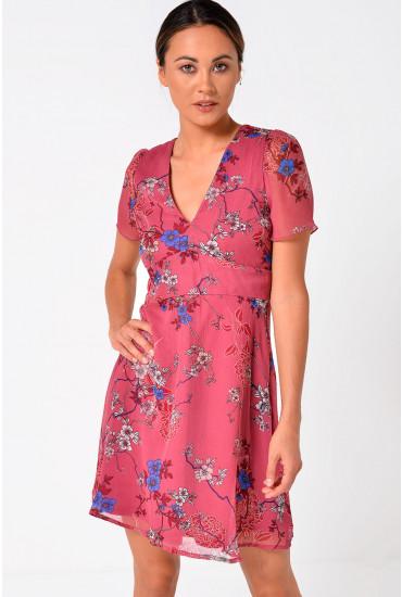 Katinka Floral Mini Dress in Rose Pink