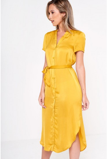 Mala Belt Shirt Dress in Amber