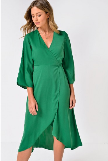 Scarlet Bell Sleeve Midi Wrap Dress in Green