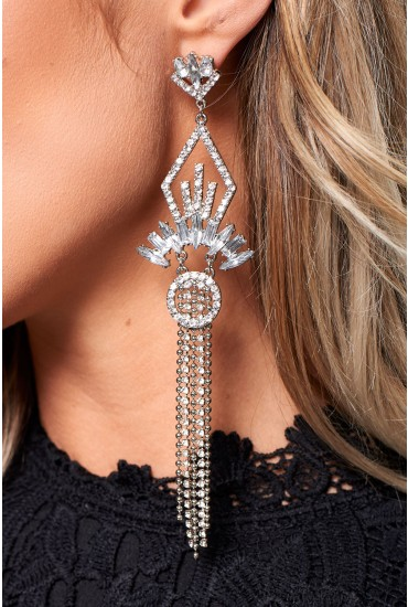 Diana Long Tassel Earring in Silver