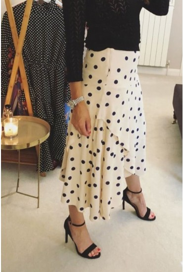 Cabana Calf Skirt in Cream Polka Dot