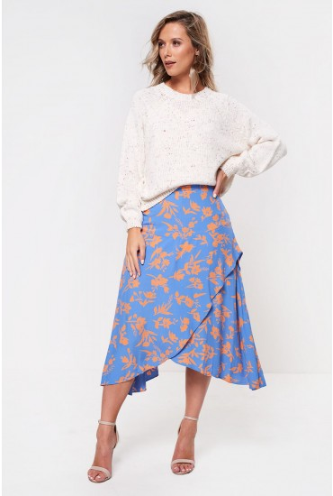 Cabana Calf Skirt in Blue Floral