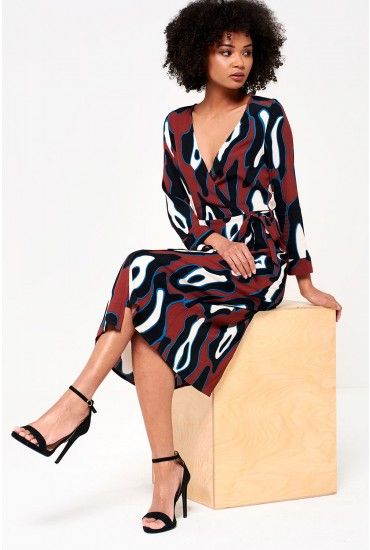Isla  Wrap Midi Dress in Abstract Print