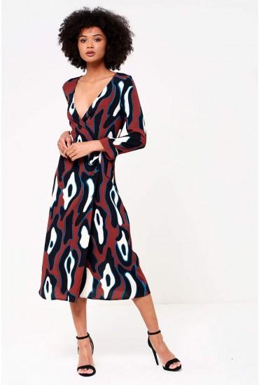 Isla  Wrap Midi Dress in Abstract Print