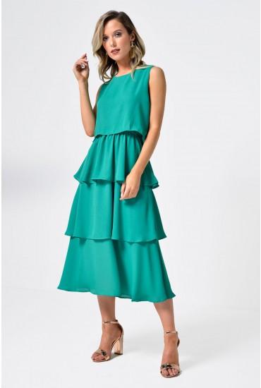Kelly Overlay Midi Dress in Green